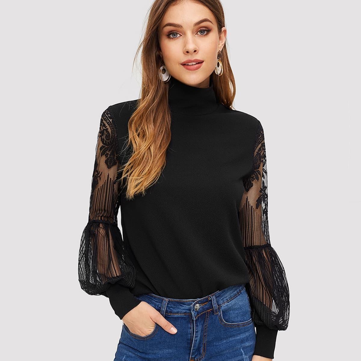 SHEIN / Blusas Encaje en contraste Liso Negro Elegante