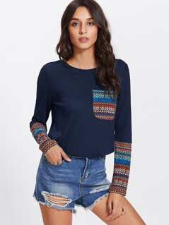 Pocket Front Tribal Print Tee