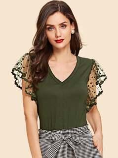 Dot Mesh Flutter Sleeve T-shirt
