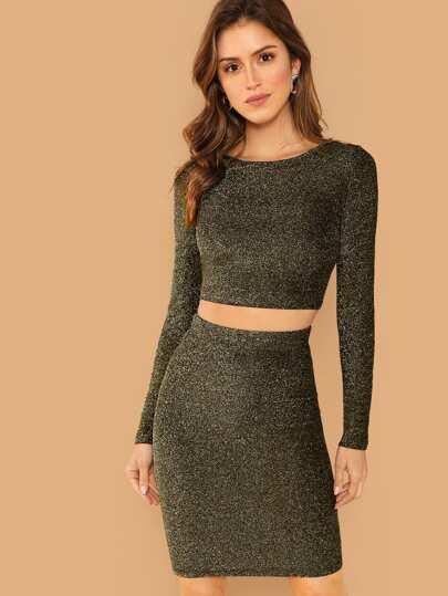 ca2d2e177d Glitter Crop Top & Bodycon Skirt Set   SHEIN IN