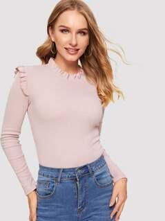 Frill Shoulder & Shoulder Rib-knit tee