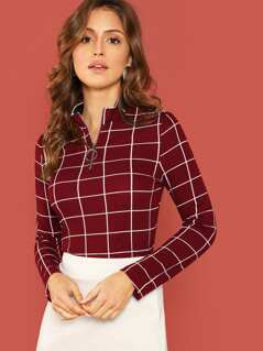 Zip Half Placket Grid Fitted Top