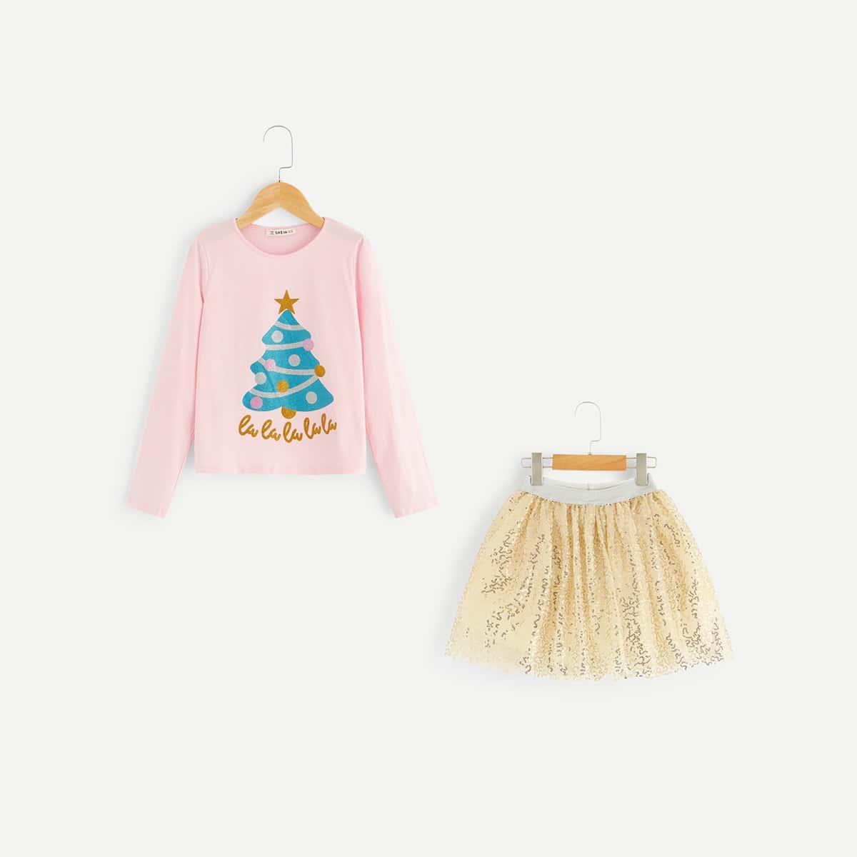 Топ с графическим принтом и юбка комплект для девочек от SHEIN