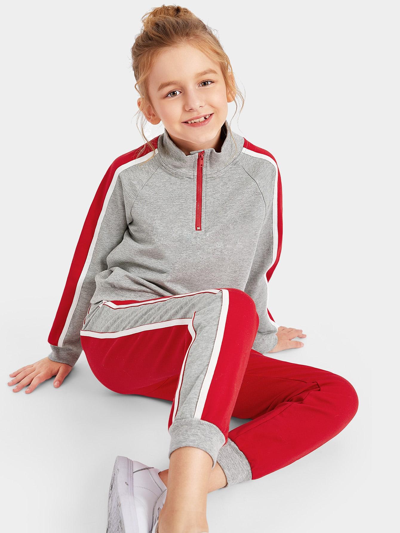 Купить Пуловер с рукавом-регланом и контрастные брюки комплект для девочек, Sashab, SheIn