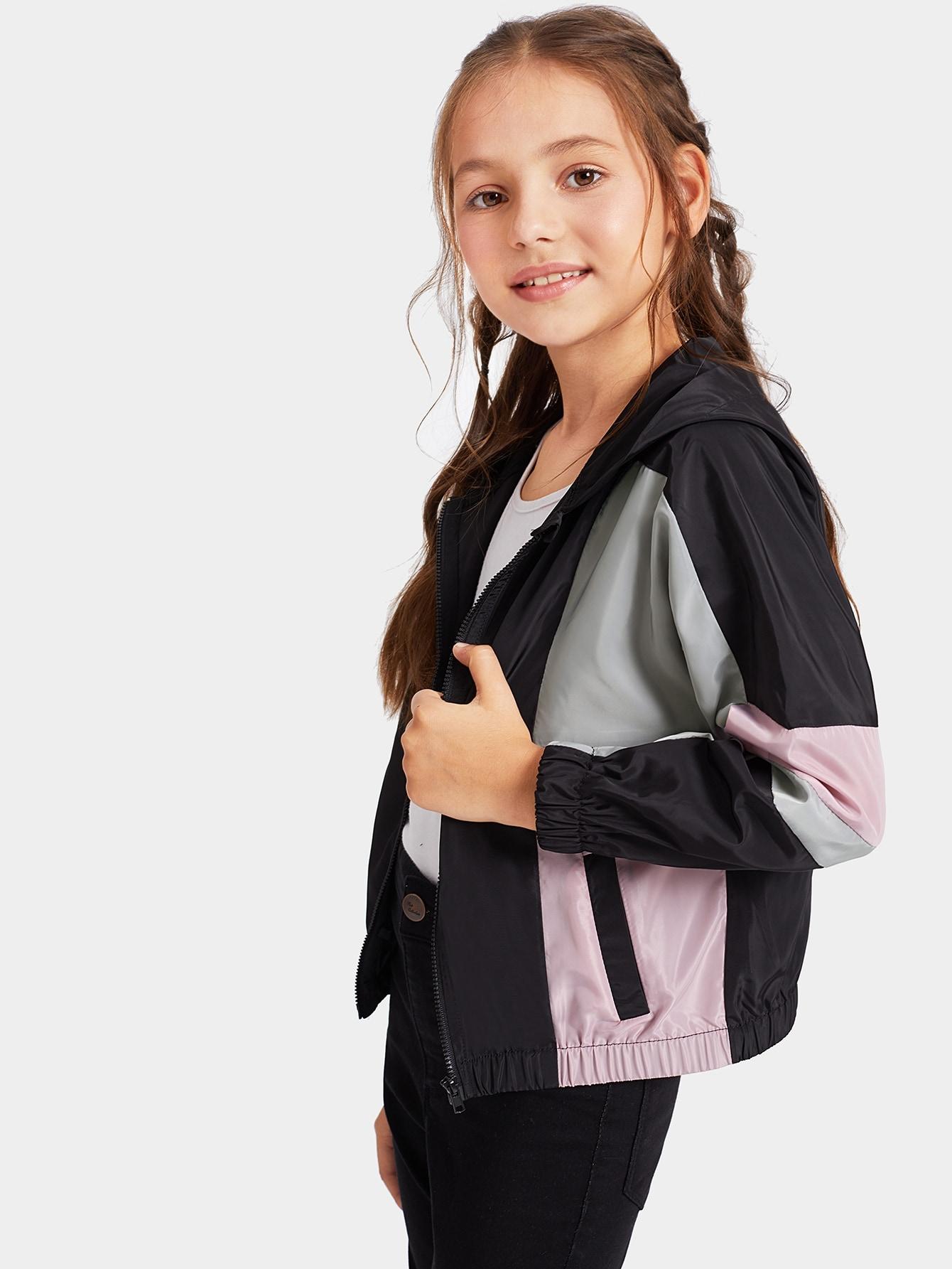 Купить Контрастная куртка на молнии с капюшоном для девочек, Alice A, SheIn