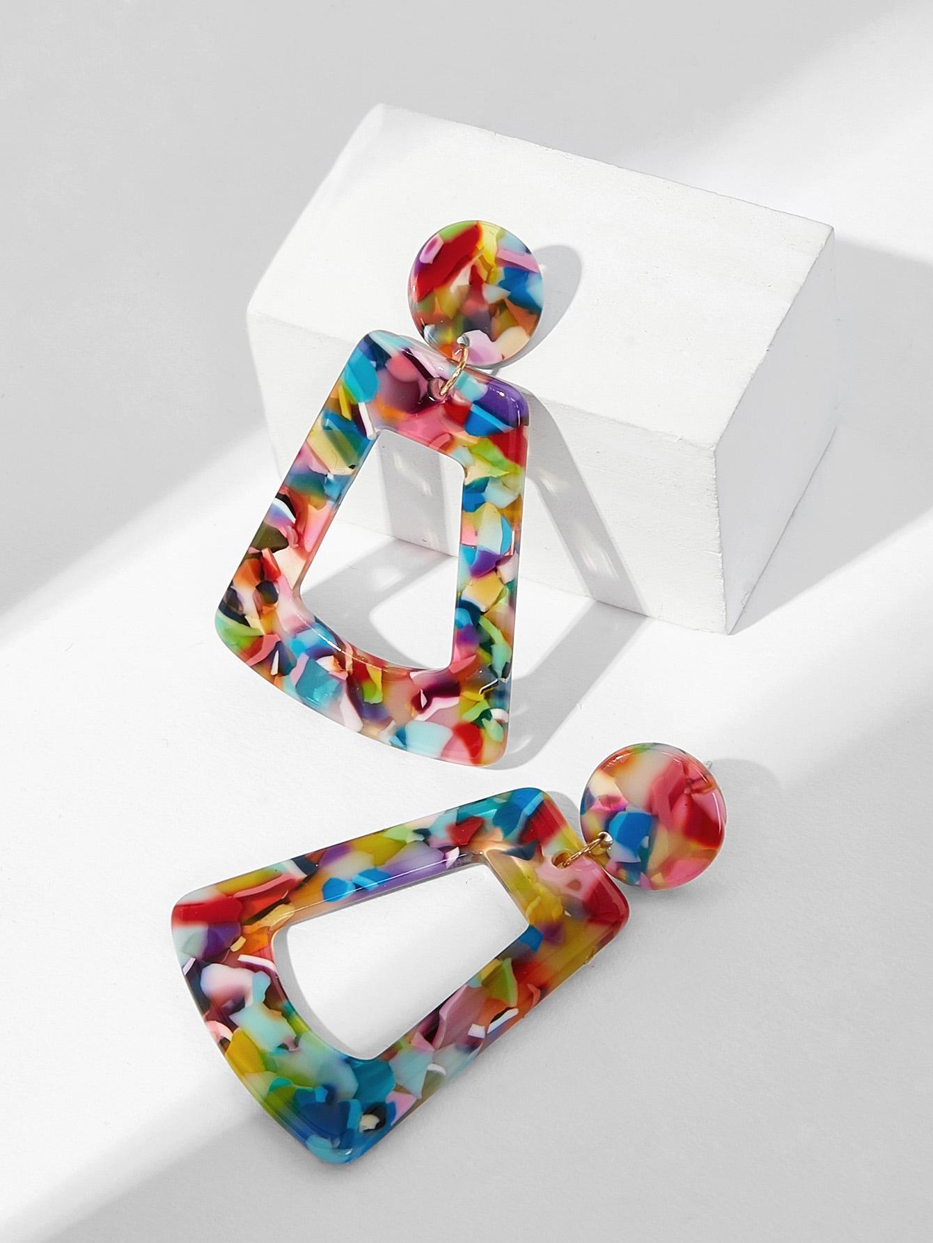 Купить Открытые геометрические серьги с принтом мраморным, null, SheIn