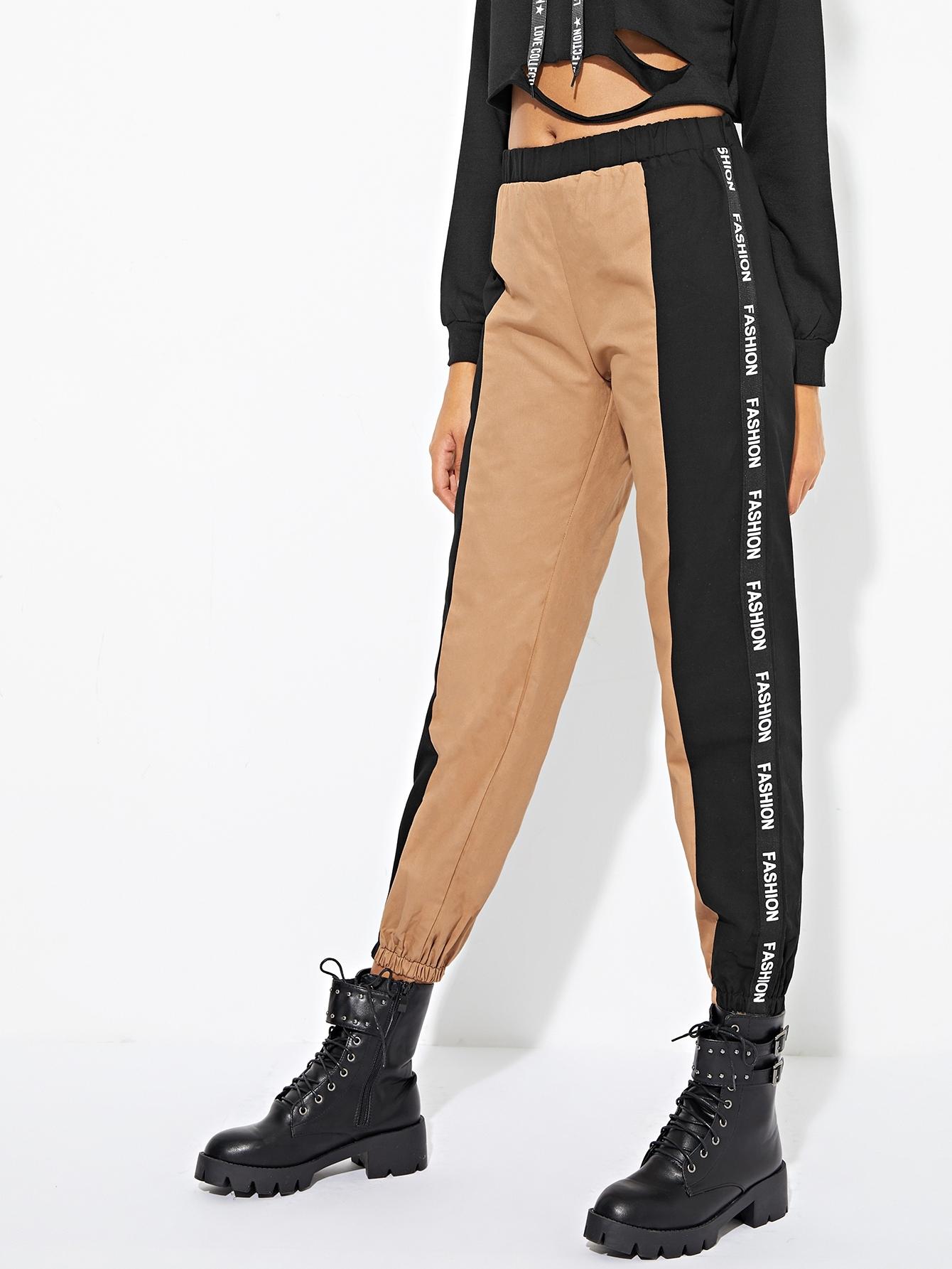 Купить Контрастные брюки в полоску с текстовым принтом, Elaine, SheIn