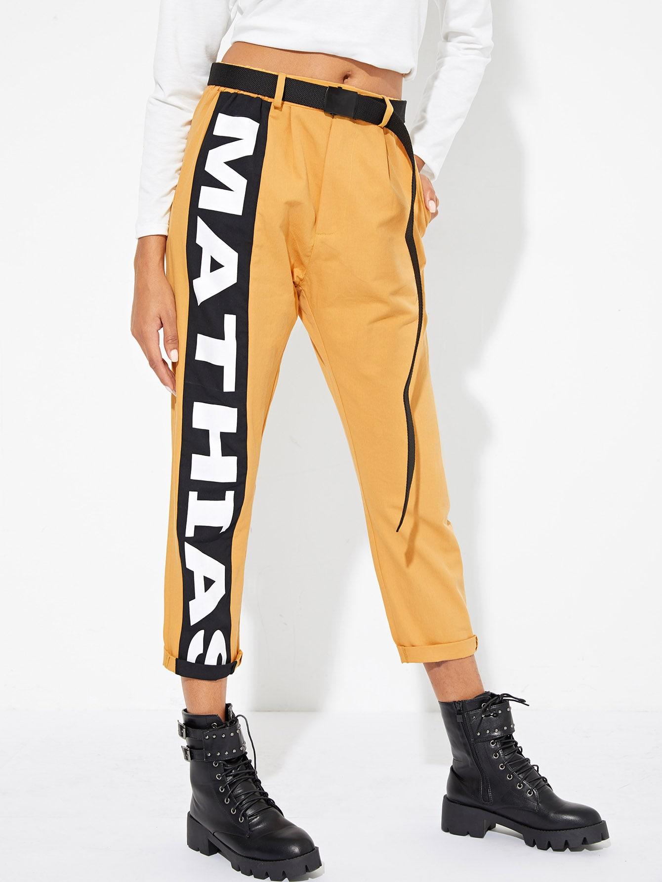 Купить Контрастные плоские брюки с текстовым принтом, Elaine, SheIn