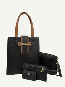 4pcs PU Tote Bag With Clutch