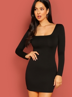 Double Square Neck Bodycon Dress