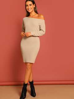 Asymmetrical Neck Bodycon Dress