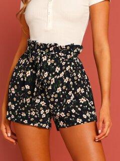 Tie Waist Flower Print Shorts