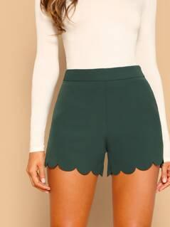 Scallop Hem Tailored Shorts