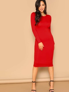 Long Sleeve Solid Pencil Dress