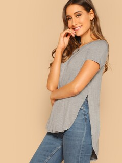 Slit High Low Hem Heathered Top