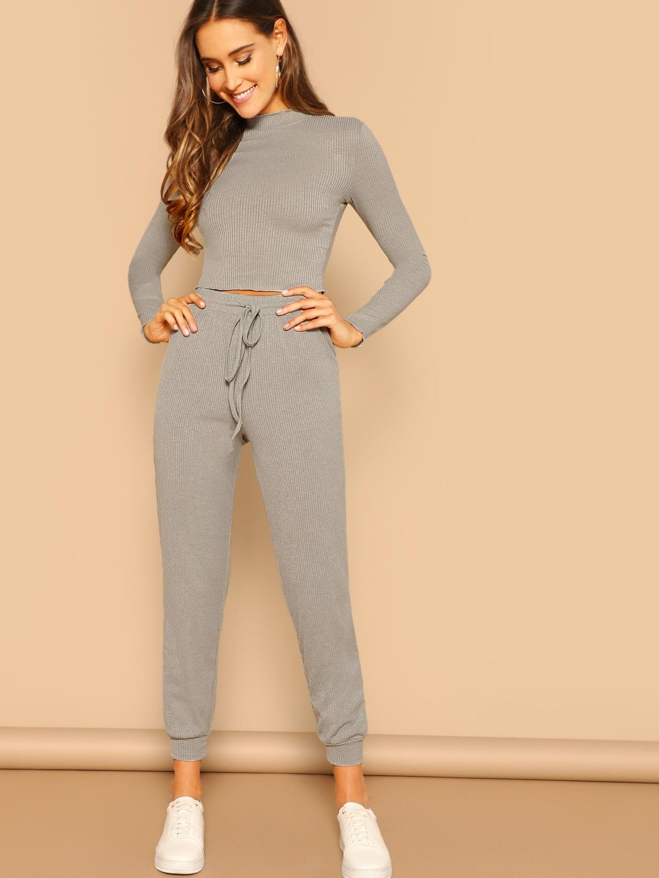 Купить Короткий топ и спортивные брюки комплект, Anna Herrin, SheIn