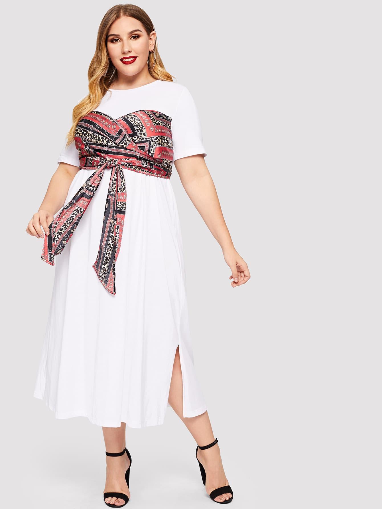 Размера плюс платье с бантом и графическим принтом