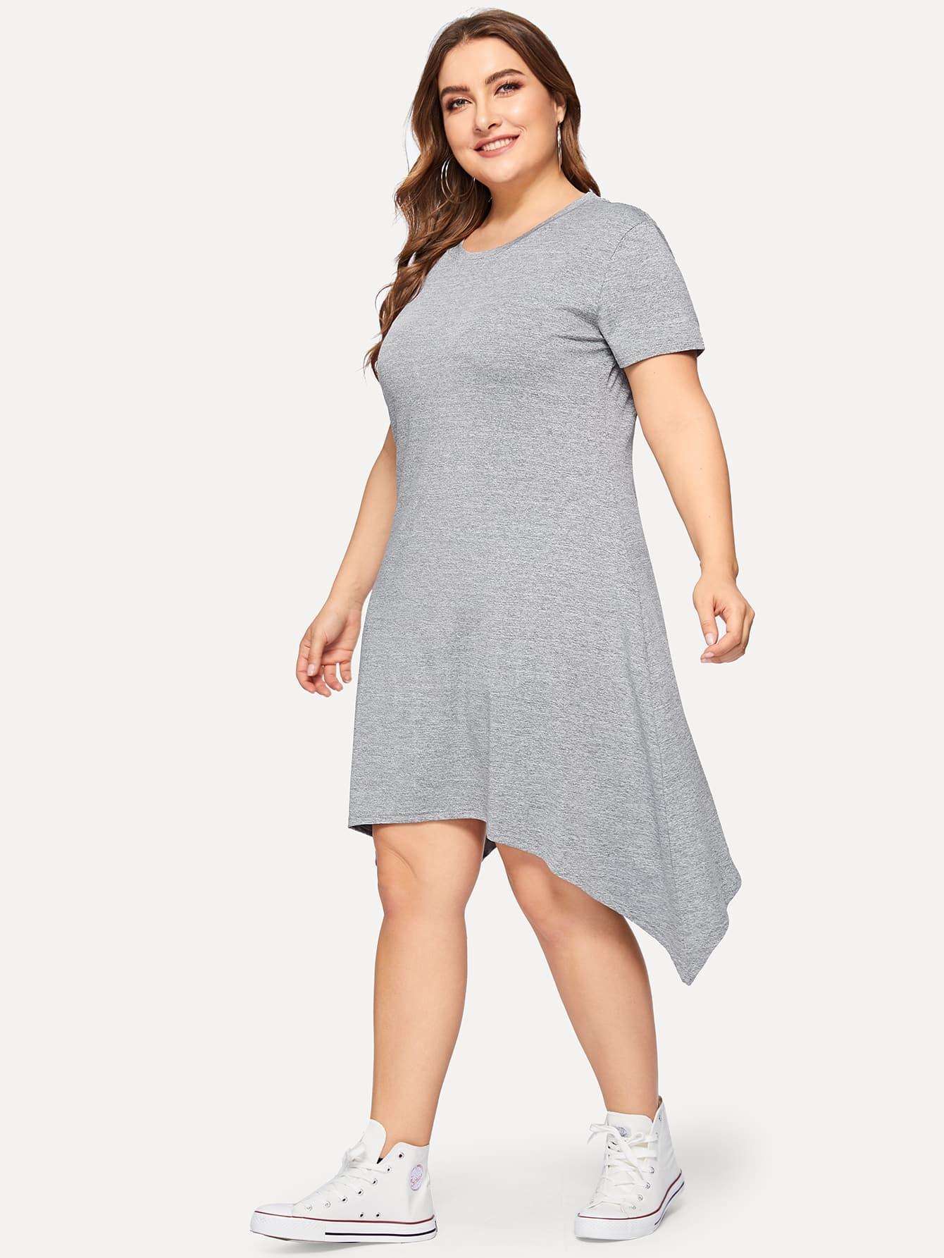 Размера плюс однотонное асимметричное платье
