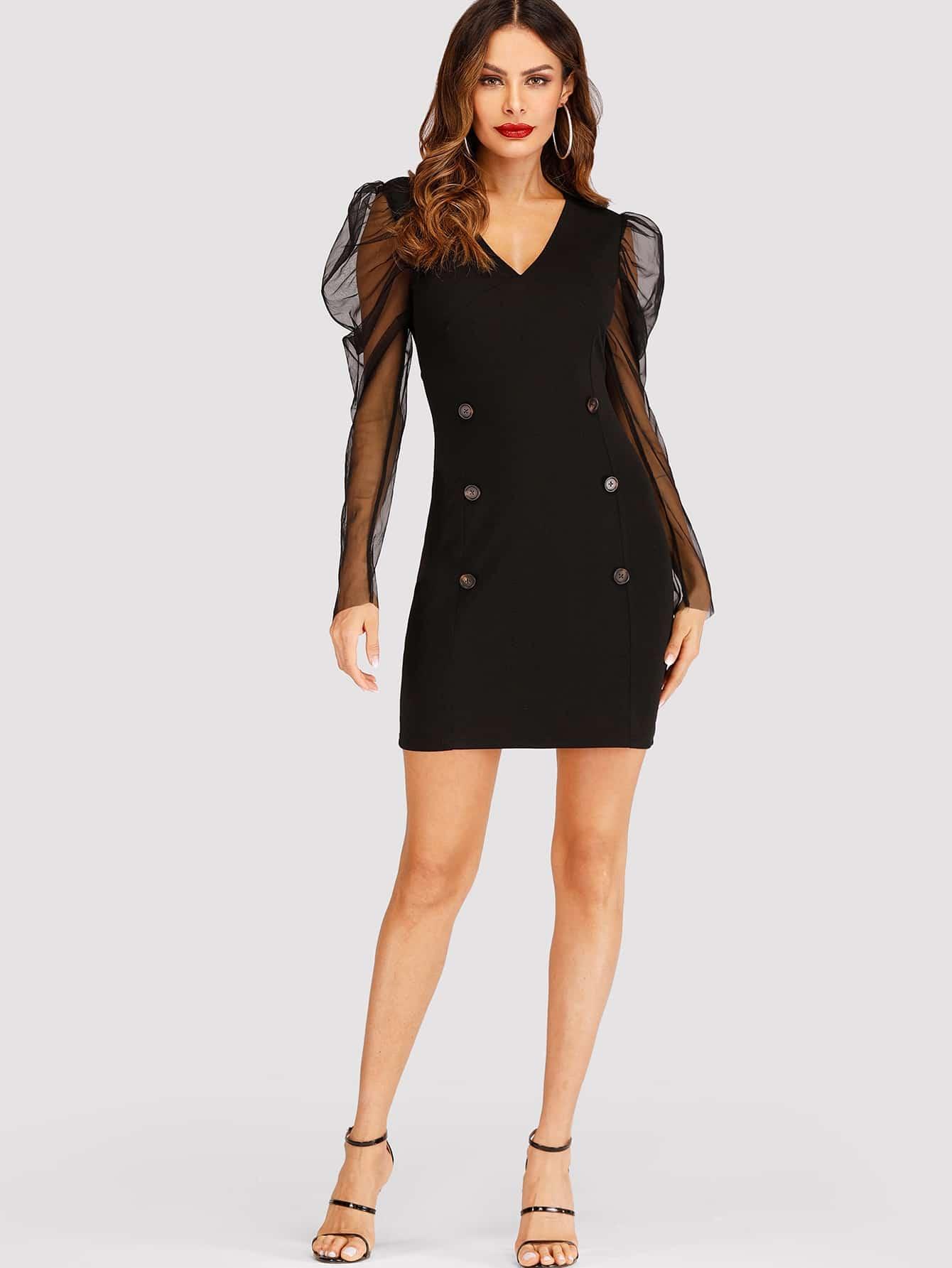 Купить Контрастное платье с пуговицами, Andy, SheIn