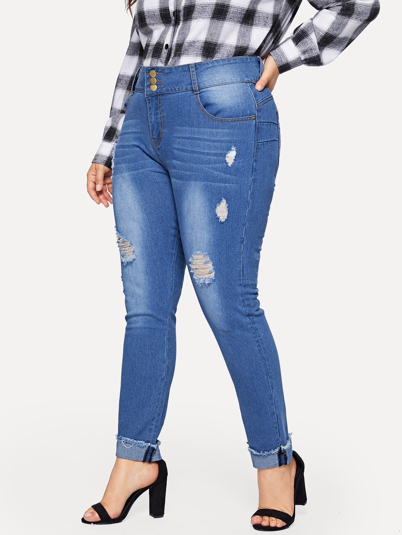 Купить Размера плюс рваные выбеленные джинсы, Franziska, SheIn