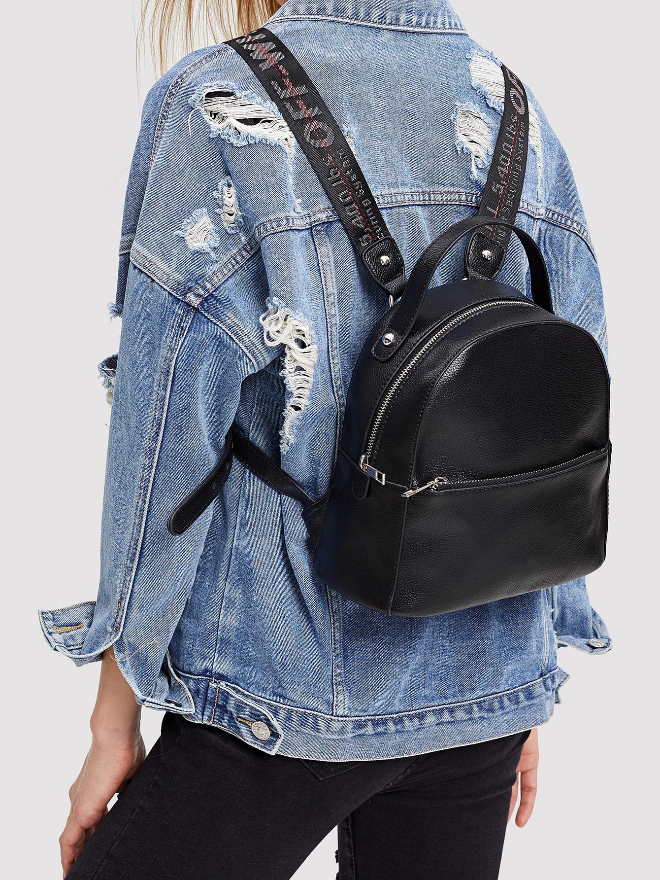Купить Однотонный рюкзак с застёжкой молния и гитарным ремешком, null, SheIn