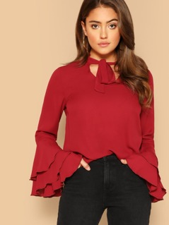 Layered Sleeve Tie Neck Blouse
