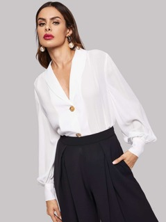 Button Front Bishop Sleeve Solid Top