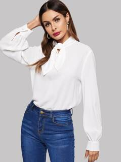 Tied Neck Solid Blouse