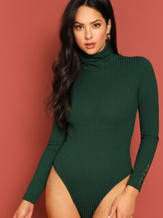 High Neck Buttoned Detail Ribbed Knit Bodysuit