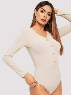 Button Front Ribbed Bodysuit
