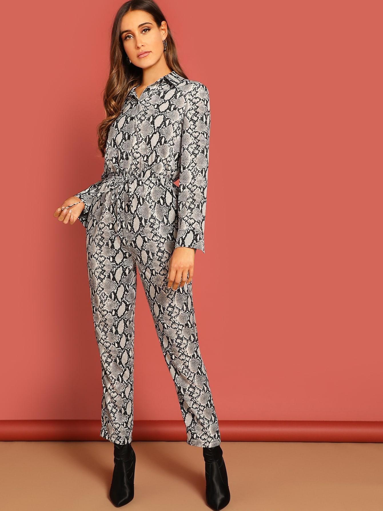 Купить Рубашка-комбинезон с кулиской и змеиным принтом, Anna Herrin, SheIn