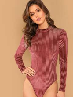 Mock Neck Ribbed Velvet Bodysuit