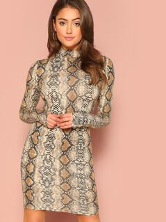 Mock-neck Snake Skin Bodycon Dress