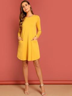 Pocket Front Curved Hem Solid Dress