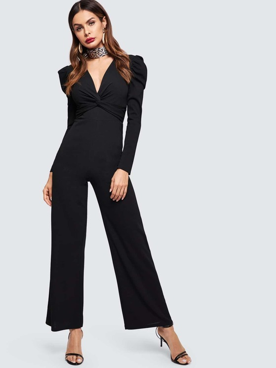 46d6719c6b6 Puff Sleeve Twist Front Wide Leg Tailored Jumpsuit