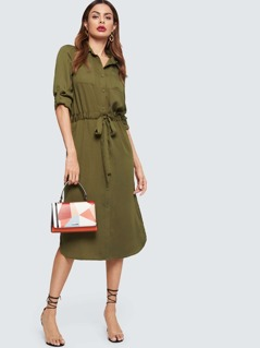 Drawstring Waist Rolled Tab Sleeve Utility Shirt Dress