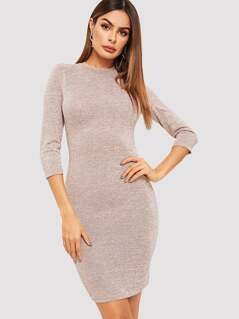 Long Sleeve Solid Bodycon Dress