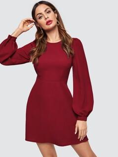 Bishop Sleeve Fit & Flare Dress