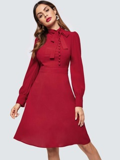 Tied Neck Buttoned Fit & Flare Dress
