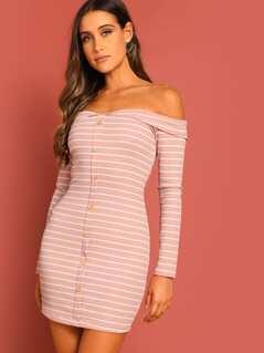 Off Shoulder Button Up Striped Rib-knit Dress