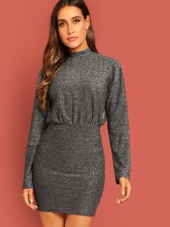 Mock-neck Glitter Dolman Dress