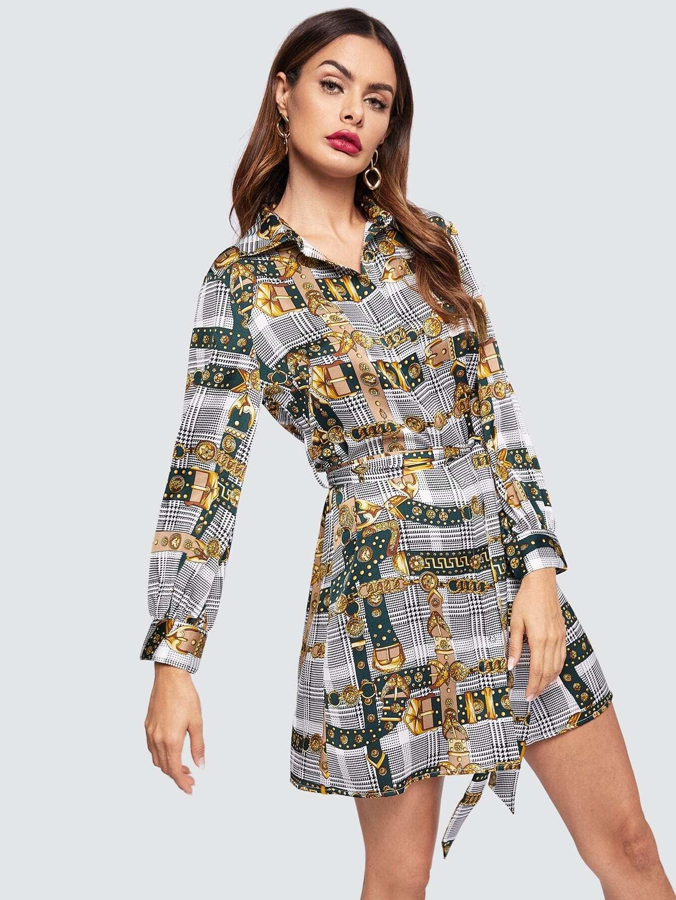 Купить Платье-рубашка с поясом и смешанным принтом, Andy, SheIn