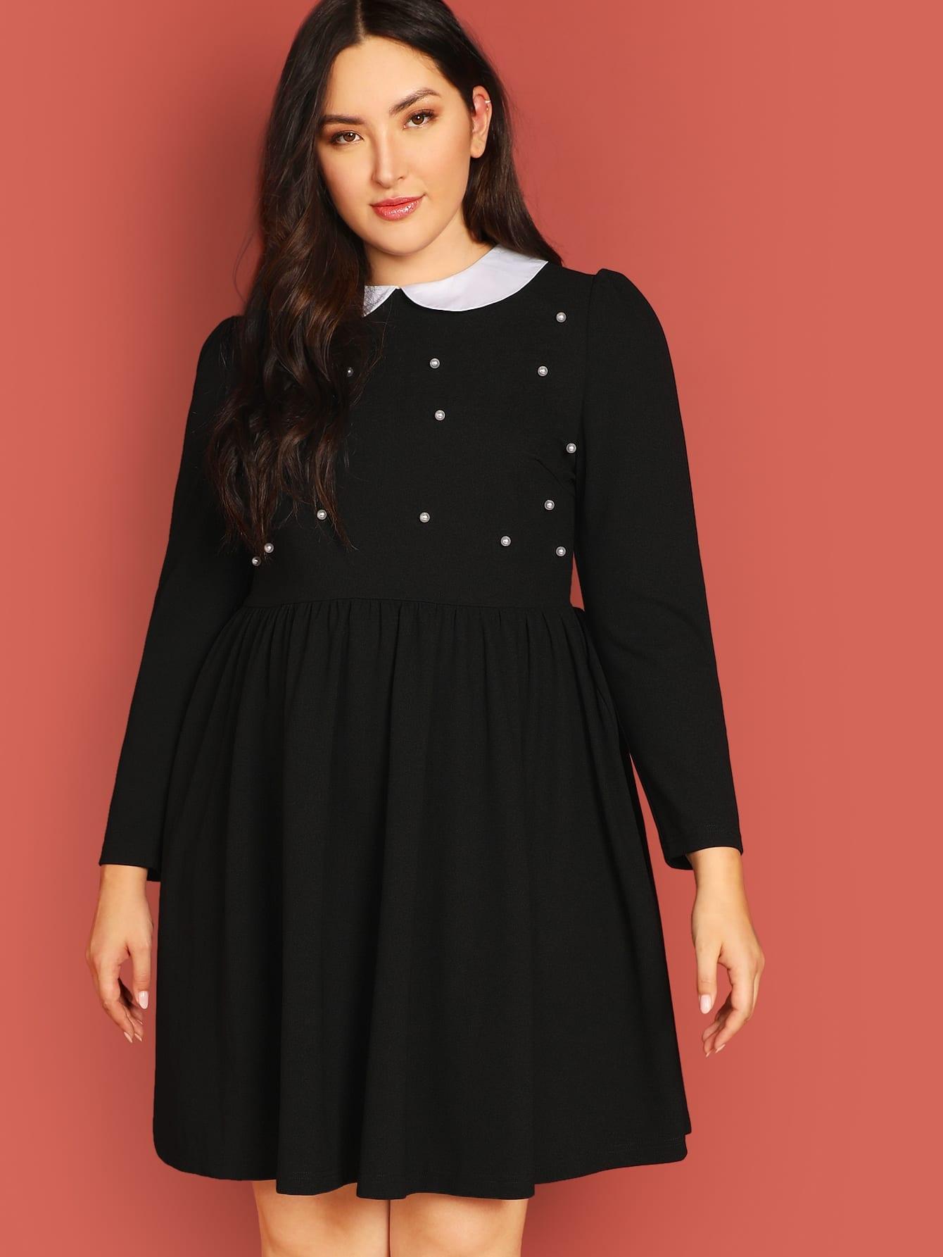 Купить Платье с контрастным вырезом и жемчугами размера плюс, Yumi, SheIn