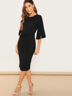Petal Sleeve Belted Fitted Dress