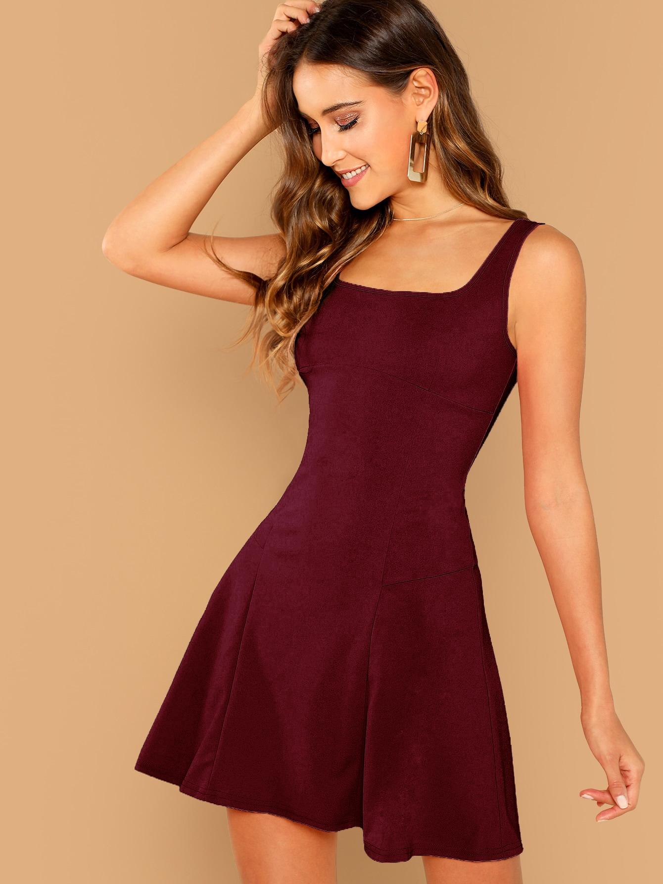 Купить Однотонное расклешенное платье без рукавов, Anna Herrin, SheIn