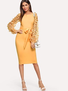 3D Applique Mesh Sleeve Self Tie Dress