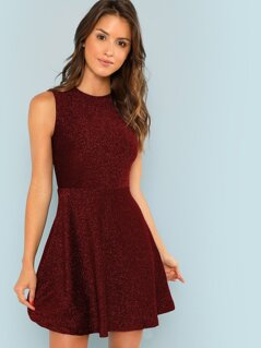 Fit and Flare Glitter Shell Dress