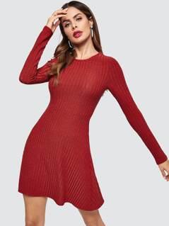 Rib-knit Solid Flare Dress