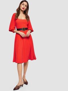 Square Neck Lantern Sleeve Dress Without Belt