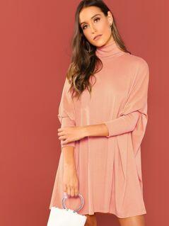 Turtleneck Dolman Sleeve Boxy Dress